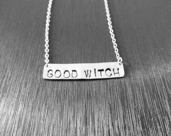 Good Witch Necklace on Aluminum, Shiny Silver or Platinum Chain, Triangle or Bar Options