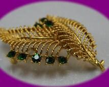 Vintage  Rhinestone Gold Brooch  Art Deco Lisner Designer Leaf Brooch Vintage Jewelry Vintage Brooch  Gold Brooch Broch pin