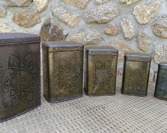 5 boxes spice metal decor arabesques, 40s. French Vintage. Shabby chic