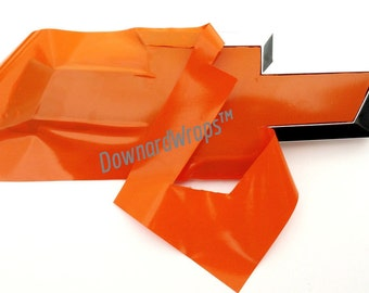 Orange Gloss Auto Wrap Vinyl Sheets -2-   U-cut Decal overlays for Chevy Bowtie Emblems Grill & Rear