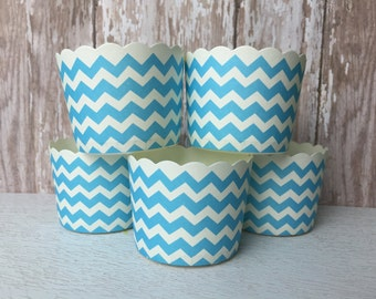 24 Blue and White Chevrons cupcake liners  Baking Cups, Candy Nut Dessert Cups