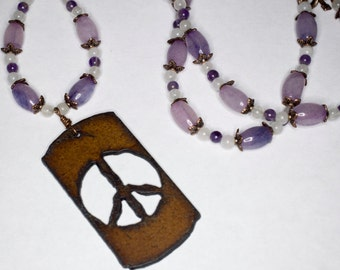 Quartz, Amethyst and Copper Necklace