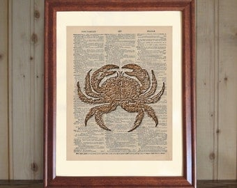 Crab Dictionary Print, Crab Print, 3D Crab Drawing, Crab Wall Art, Seafood Print, Cottage Decor, Crab Print on 5x7 or 8x10 Canvas Panel