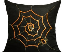 Spider Pillow Cover Spider Web Pillow Pop Art Halloween Décor Pillows Black Orange Pillow Cartoon Pillows Boys Room Décor Creepy Pillows