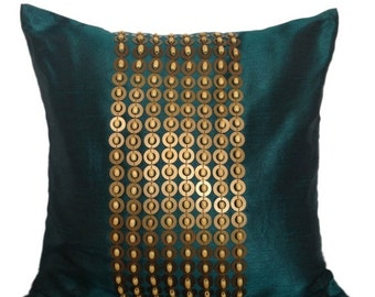 Teal and Gold Pillow Teal Gold Beaded Pillow Cover Teal Gold Accent Pillow 14X14 16X16 18X18 20X20 inches