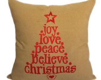 Christmas Pillows, Joy Love Peace Believe Christmas Quote Pillow Cover Christmas Quote Accent Pillow Christmas Throw Pillows Christmas Décor