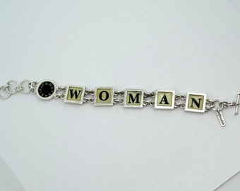 I Am Woman...Hear Me Roar!  Remarkable WOMAN Sterling Silver Bracelet With Toggle Clasp  #WOMAN-LB1