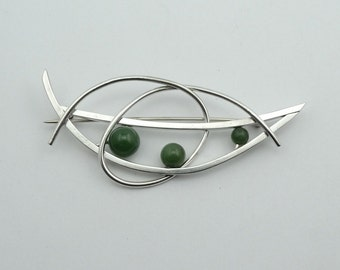 Vintage Abstract Avant Garde Jade and Sterling Silver Brooch/Pin  #JADEAB-PN1