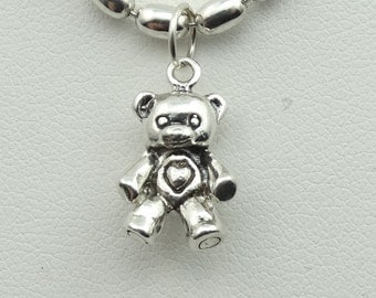 Lot's Of Love In This Little Lovable Sterling Silver Teddy Bear Pendant.  16 Inch Egg Shaped Sterling Silver Chain Included!