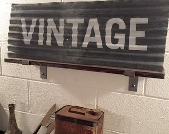 Vintage Industrial Sign, Corrugated Metal Sign