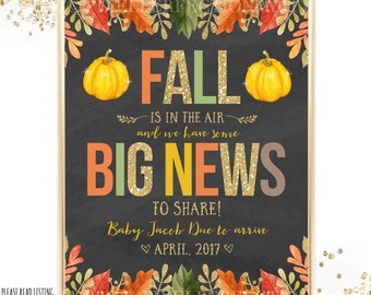 Fall Baby Announcement Fall Pregnancy Announcement Pumpkin On The Way Announcement Fall Photo Prop Baby Announcement Printable Card