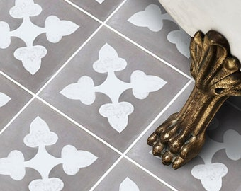 Vinyl Floor Tile Sticker - Floor decals - Carreaux Ciment Encaustic Bellota Tile Sticker Pack in Flint Grey
