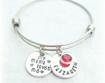 My Mimi Nana Loves Me Adjustable Bracelet - Expandable Style - Child Size *Personalized with birthstone * Granddaughter Gift