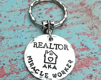 Realtor Gift - Real Estate Agent Gift - Miracle Worker - Thank you Gift - Realtor Keychain - Hand Stamped