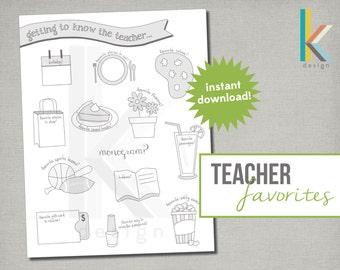 Teacher Favorites Form, Printable & Editable, Instant Download