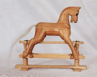 Handmade Wooden Miniature Rocking Horse on Wooden Trestle Base