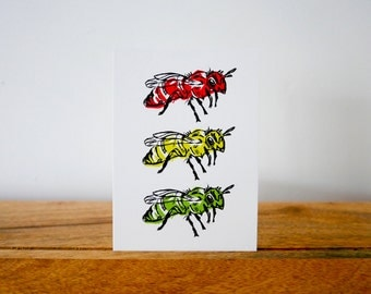 air traffic control. - red, green and yellow bee postcard print