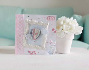 Card congratulations birth girl pink