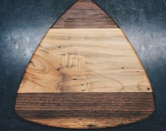 Mid Century Inspired Medium Guitar Pick Serving or Cutting Board With Black Walnut & Hard Maple