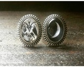 Pair of Baphomet and Moon Glass Cabochon Adjustable Rings, 18x13mm