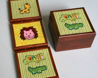 Nursery/Baby box/wallhanger/gift set/Animal/Lion/Giraffe/Jungle/childs/decor/trinket/storage
