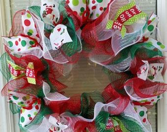 Christmas Wreath, Holiday Wreath, Santa Wreath, Ho Ho Ho Wreath, Mesh Wreath, Deco Mesh Wreath, Ribbon Wreath