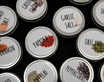 6 Magnetic Spice Tins - 2 oz empty tins for easy food storage