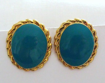 vintage gold tone and oval cyan earrings, 1980's retro clip on earrings,  retro costume jewellery