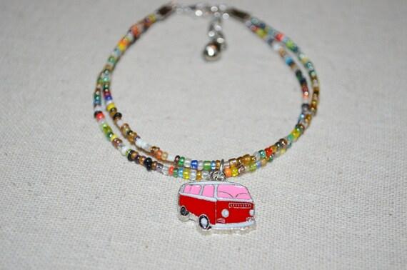 Ankle Bracelet VW Bus, Red  VW Bus Anklet, Colorful VW Anklet, Volkswagen Bus Anklet, Red Bus Anklet, Volkswagen Bay Window Anklet