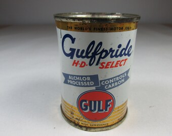 Vintage Tin Bank Gulf Oil Gulfpride Vintage Advertising Bank Petroliana Gas Oil Miniature Oil Can Gulfpride Bank
