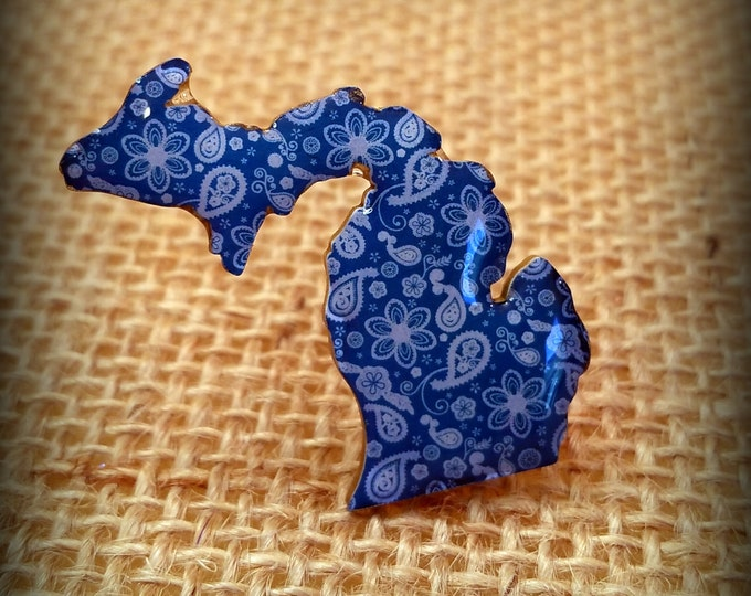 Michigan Pin - Michigan Souvenir - Michigander - Blue Paisley Pin - Blue Michigan - Michigan Lover - Michigan Gift - Plastic Pin - Art