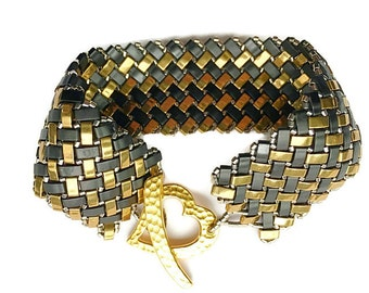 Black and Bronze Tila Cuff Bracelet
