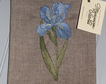 Linen Tea Towel - Floral Tea Towel - Iris Tea Towel