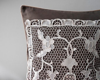 Rustic Pillow Cover Set, Decorative Throw Pillow, Brown Pillow Cover, Lace Pillow Case, Rustic Home Decor, French Country Pillows