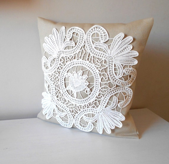Shabby Chic Pillow Lace Pillow Cover Decorative by MyLacyBoutique