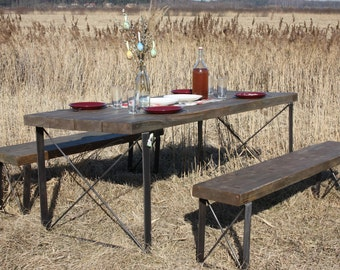 Industrial Dining Table And Bench Dining Set, Rustic And Industrial Reclaimed Barn Wood Furniture
