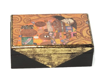 Jewelry Box, Jewelry Storage,Wooden box, Gustav Klimt
