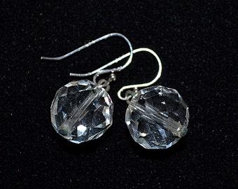 Vintage Sterling Silver Faceted Crystal Bead Drop Earrings