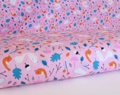 Forest Friends in Pink - Sweet Autumn Day by Little Cube for Cloud 9 Organic Fabric -1 Yard