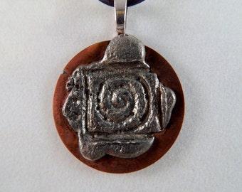 Silver Stamped Copper Geometric Pendant