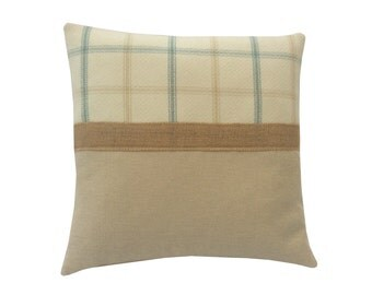 Bespoke Lewis Tartan Check faux wool Duck egg Blue, Yellow,Cream,Beige  Hessian trim scatter cushion cover hand made in Britain