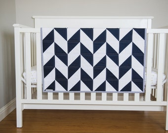 "Modern Geometric Baby Quilt. Toddler, Twin or Throw Blanket. Herringbone Quilt. ""The Zachary"" Navy White, Bold Nursery Decor Child's Quilt"