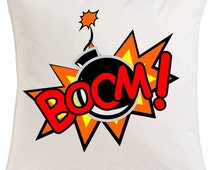 Boom superhero hero boys cushion comic book superpowers - personalised comes with inner