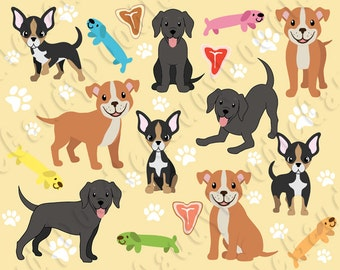 Dogs Clipart - Pitbull, Chihuahua, Labrador Retriever