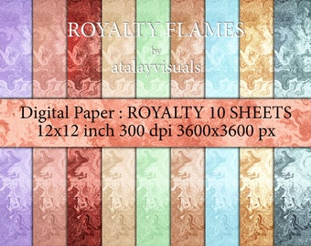 ROYALTY FLAMES : Digital Paper Background 10 SHEETS 12x12 inch 300 dpi 3600x3600 px jpeg files.