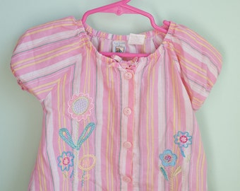 vintage baby clothes, baby girl shirt, pastel colors, 24 months, Tuti Fruiti