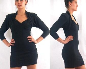 black bodycon DRESS, 80s 90s wiggle dress, sweetheart dress, stretchy, mini dress with bolero