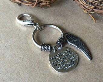 Key chain/ wanderlust key chain/ wanderlust/ angel wing key chain/ angel wing/ meaningful key chain/ key holder/ key chain gift/gift for her