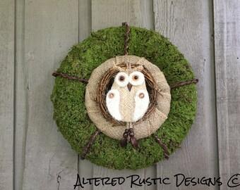 Owl wreath/ moss owl wreath/ moss/ wreath/ rustic wreath/ natural wreath/ organic wreath/ woodland wreath/ moss decor/ owl decor/ moss owl
