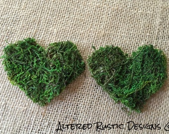 Moss hearts/ moss hearts for favor bags/ Moss decor/ wedding moss decor/ hearts for wedding/ wedding accessory/ wedding moss hearts/ rustic